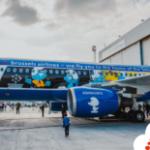 Brussels Airlines unveils Smurf airplane